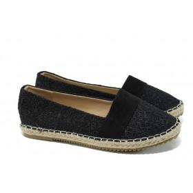 Равни дамски обувки - висококачествен текстилен материал - черни - EO-10939