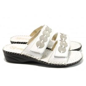 Дамски чехли - естествена кожа - бели - EO-10996