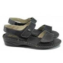 Дамски сандали - естествена кожа - черен - EO-10998