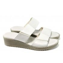 Дамски чехли - естествена кожа - бели - EO-10995