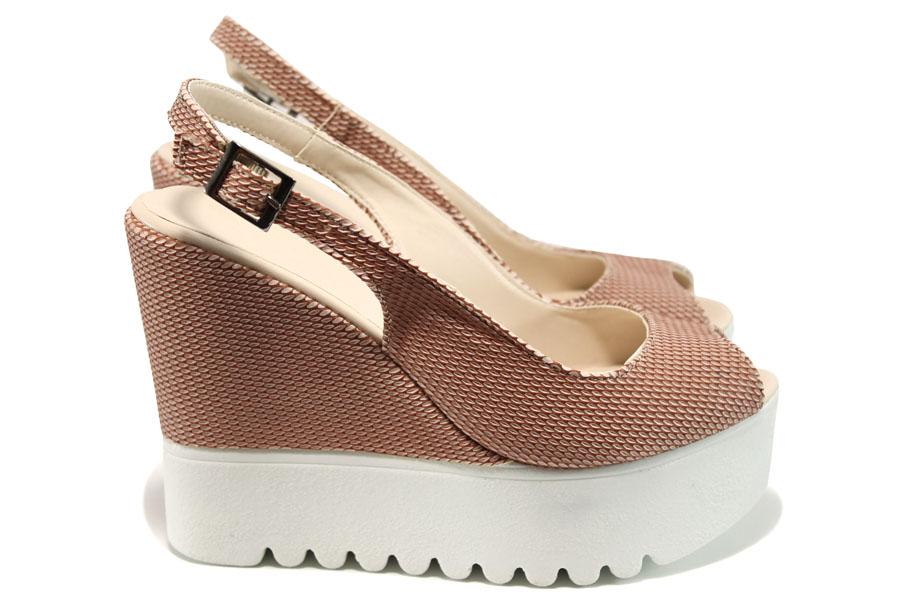 Дамски сандали - висококачествена еко-кожа - розови - EO-11019