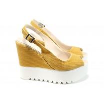 Дамски сандали - висококачествена еко-кожа - жълти - EO-11017