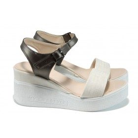 Дамски сандали - висококачествена еко-кожа - бежови - EO-11016