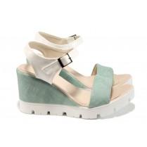 Дамски сандали - висококачествена еко-кожа - зелени - EO-11014