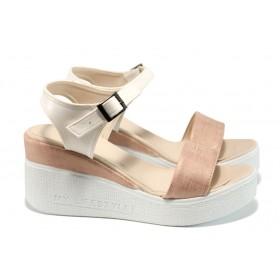 Дамски сандали - висококачествена еко-кожа - корал - EO-11015