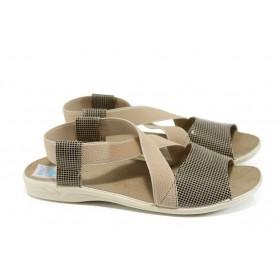 Дамски сандали - висококачествен текстилен материал - бежови - EO-11025