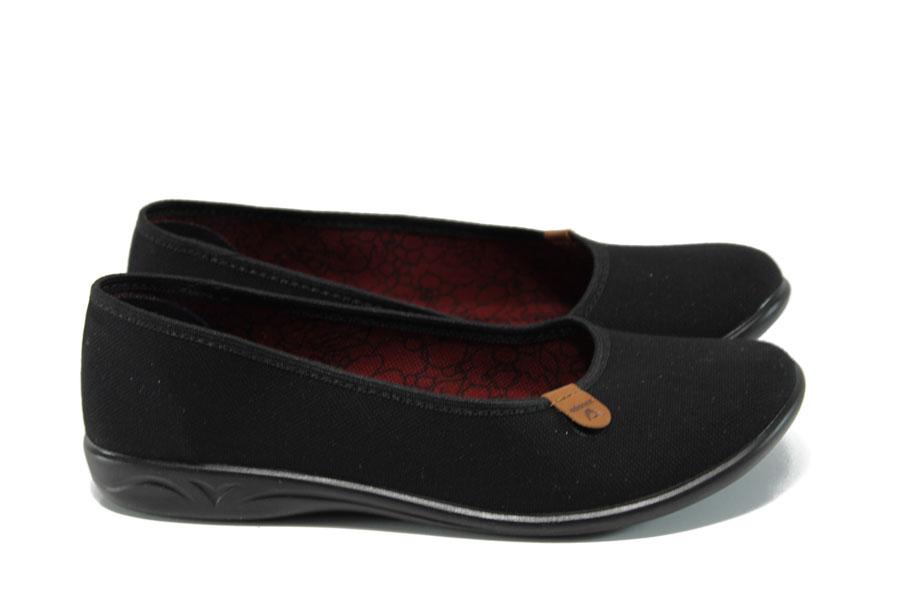 Равни дамски обувки - висококачествен текстилен материал - черни - EO-11027
