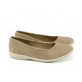 Равни дамски обувки - висококачествен еко-велур - бежови - EO-4422