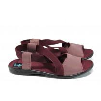 Дамски сандали - висококачествен текстилен материал - бордо - EO-11026