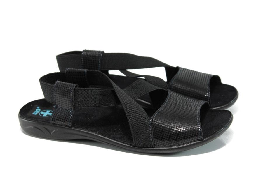 Дамски сандали - висококачествен текстилен материал - черни - EO-11024