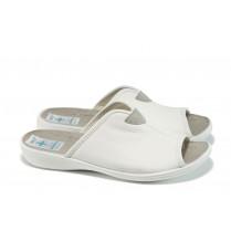 Дамски чехли - висококачествена еко-кожа - бели - EO-11020