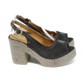 Дамски сандали - естествена кожа - черни - EO-11033