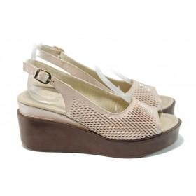 Дамски сандали - естествена кожа - бежови - EO-11035
