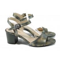 Дамски сандали - еко кожа-лак - зелени - EO-11038