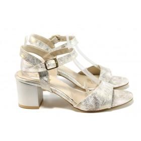 Дамски сандали - еко кожа-лак - бежови - EO-11036