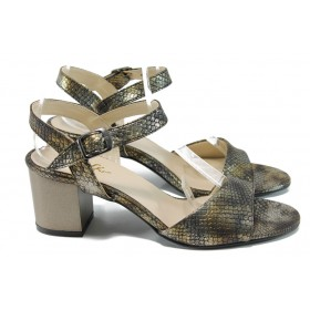 Дамски сандали - еко кожа-лак - кафяви - EO-11037