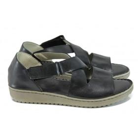 Дамски сандали - естествена кожа - черни - EO-11040
