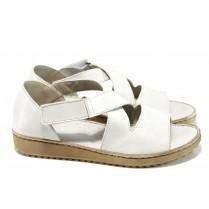 Дамски сандали - естествена кожа - бели - EO-11039