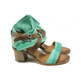 Дамски сандали - естествена кожа - зелени - EO-11042