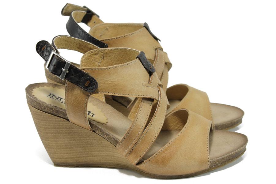 Дамски сандали - естествена кожа - бежови - EO-11041
