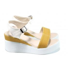 Дамски сандали - висококачествена еко-кожа - жълти - EO-11049