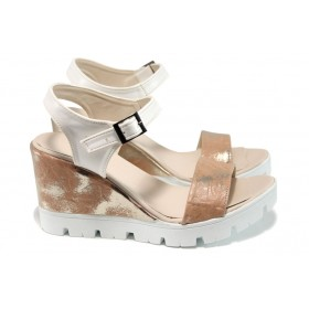 Дамски сандали - висококачествена еко-кожа - розови - EO-11048