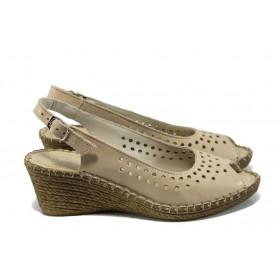 Дамски сандали - естествена кожа - бежови - EO-11056