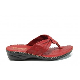Дамски чехли - естествена кожа - червени - EO-11050