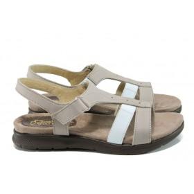Дамски сандали - естествена кожа в съчетание с текстил - бежови - EO-11055