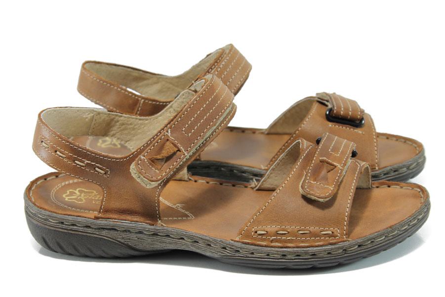 Дамски сандали - естествена кожа - кафяви - EO-11052
