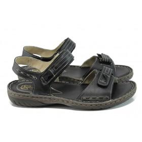 Дамски сандали - естествена кожа - черни - EO-11051