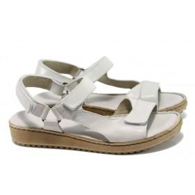Дамски сандали - естествена кожа - бели - EO-11054