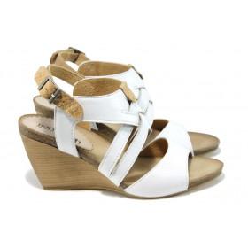 Дамски сандали - естествена кожа - бели - EO-11058