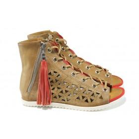 Дамски сандали - естествена кожа - бежови - EO-11059