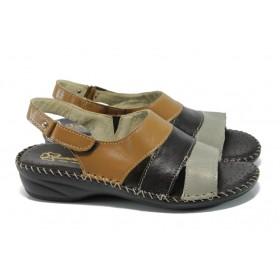 Дамски сандали - естествена кожа - кафяви - EO-11116