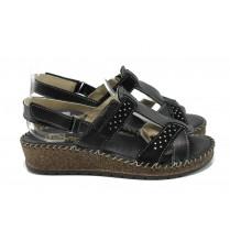 Дамски сандали - естествена кожа - черни - EO-11117