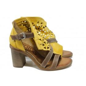 Дамски сандали - естествена кожа - жълти - EO-11106