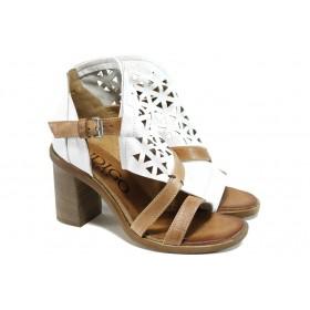 Дамски сандали - естествена кожа - бели - EO-11107