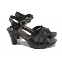 Дамски сандали - естествена кожа - черни - EO-11153