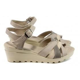 Дамски сандали - естествена кожа - бежови - EO-11147