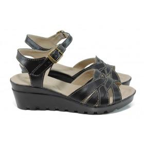 Дамски сандали - естествена кожа - черни - EO-11149