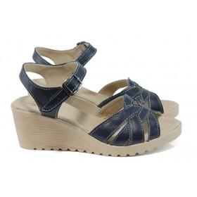 Дамски сандали - естествена кожа - сини - EO-11151
