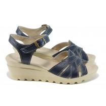 Дамски сандали - естествена кожа - сини - EO-11148
