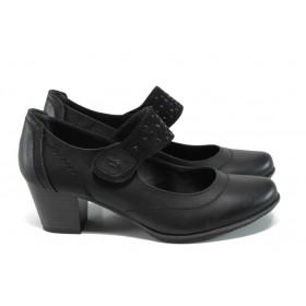 Дамски обувки на среден ток - висококачествена еко-кожа - черни - EO-11146