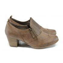 Дамски обувки на среден ток - висококачествена еко-кожа - кафяви - EO-11145