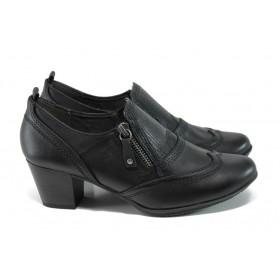 Дамски обувки на среден ток - висококачествена еко-кожа - черни - EO-11144