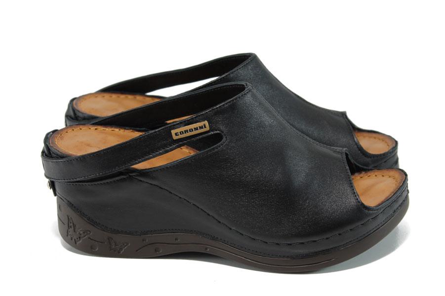 Дамски чехли - естествена кожа - черни - EO-11158