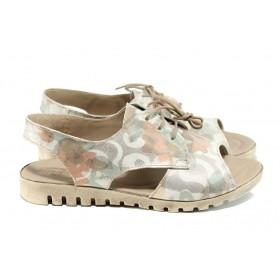 Дамски сандали - естествена кожа - бежови - EO-11110