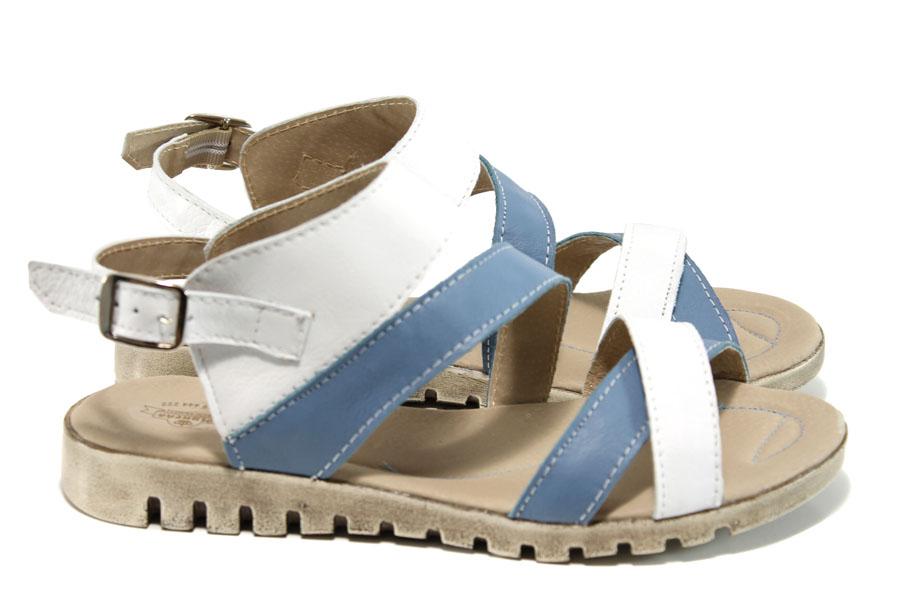 Дамски сандали - естествена кожа - бели - EO-11109