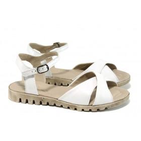 Дамски сандали - естествена кожа - бели - EO-11108